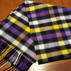Purple, yellow, black, and white scarf.